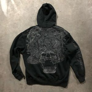 Men's Oversized Embroidered Pullover Hoodie.